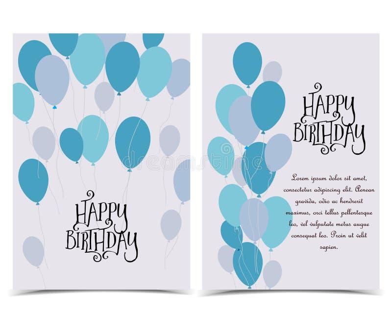 Schede di buon compleanno illustrazione vettoriale