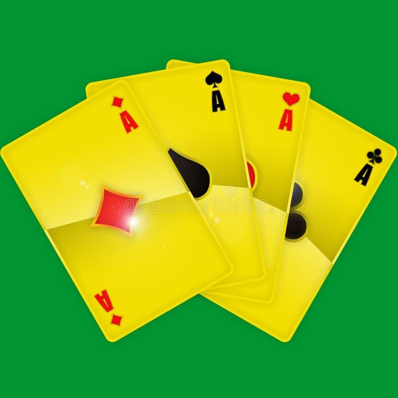 Schede di gioco dorate fotografie stock