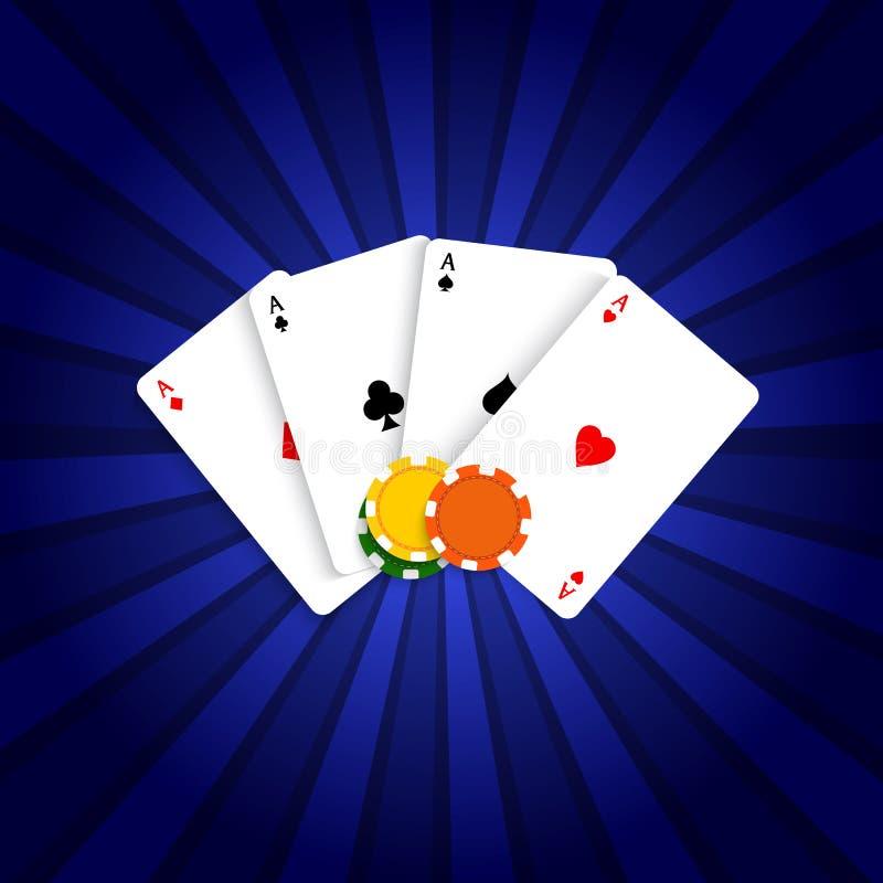 Schede di gioco e chip di mazza illustrazione di stock