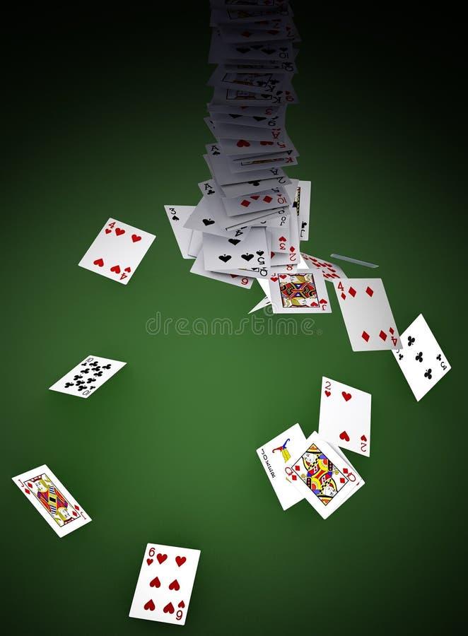 Schede di gioco sulla tabella verde illustrazione di stock