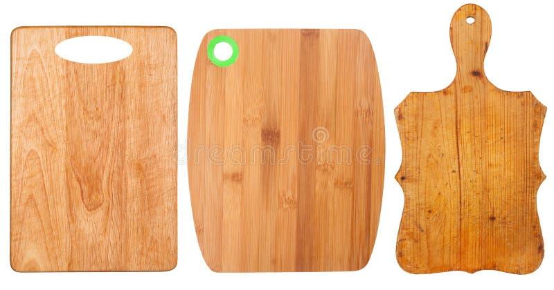 Schede di taglio di legno fotografia stock libera da diritti
