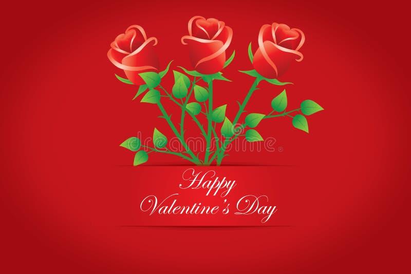 Schede felici del giorno del biglietto di S. Valentino. Mazzo delle rose rosse. Vettori immagini stock libere da diritti