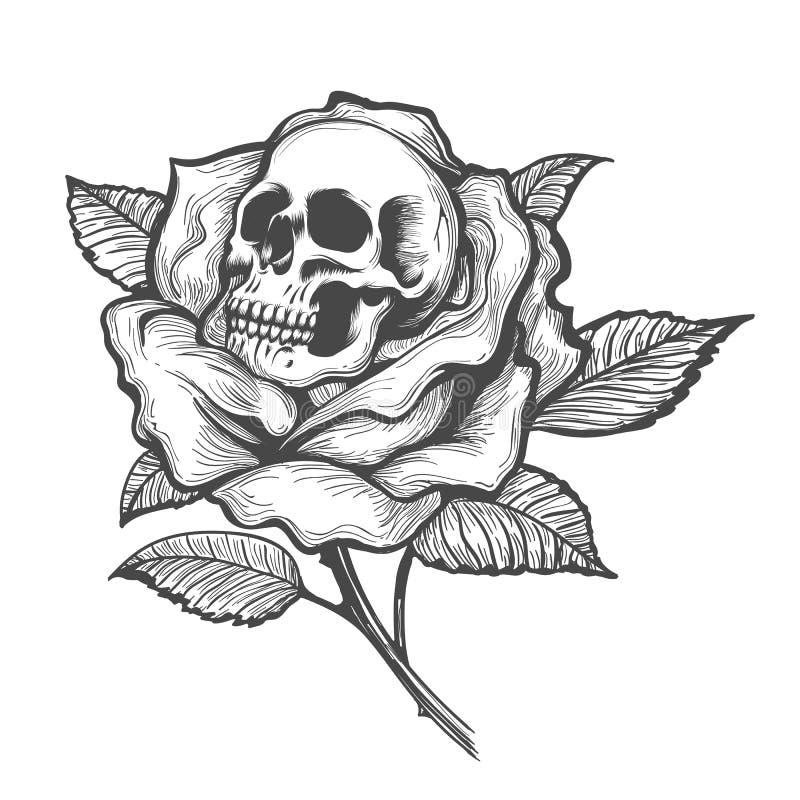 Schedel binnen Rose Flower vector illustratie