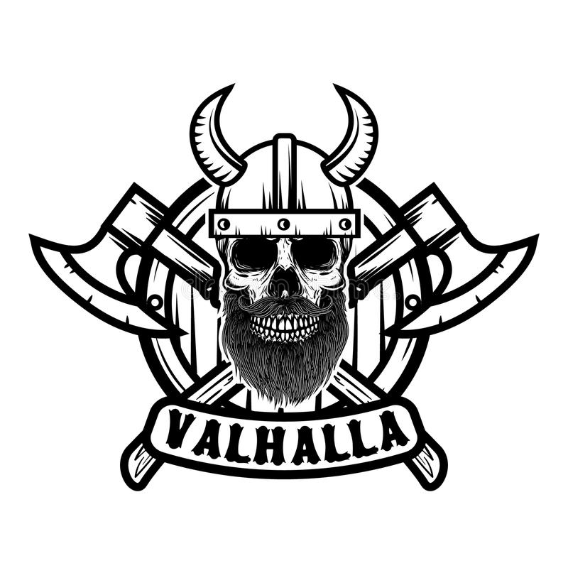 Schedel in de gehoornde helm van Viking Ontwerpelement voor affiche, embleem, t-shirt stock illustratie