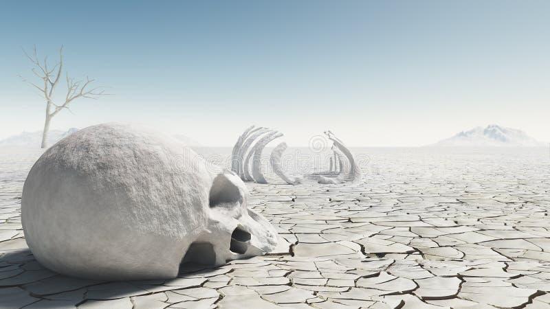 schedel in de woestijn stock illustratie