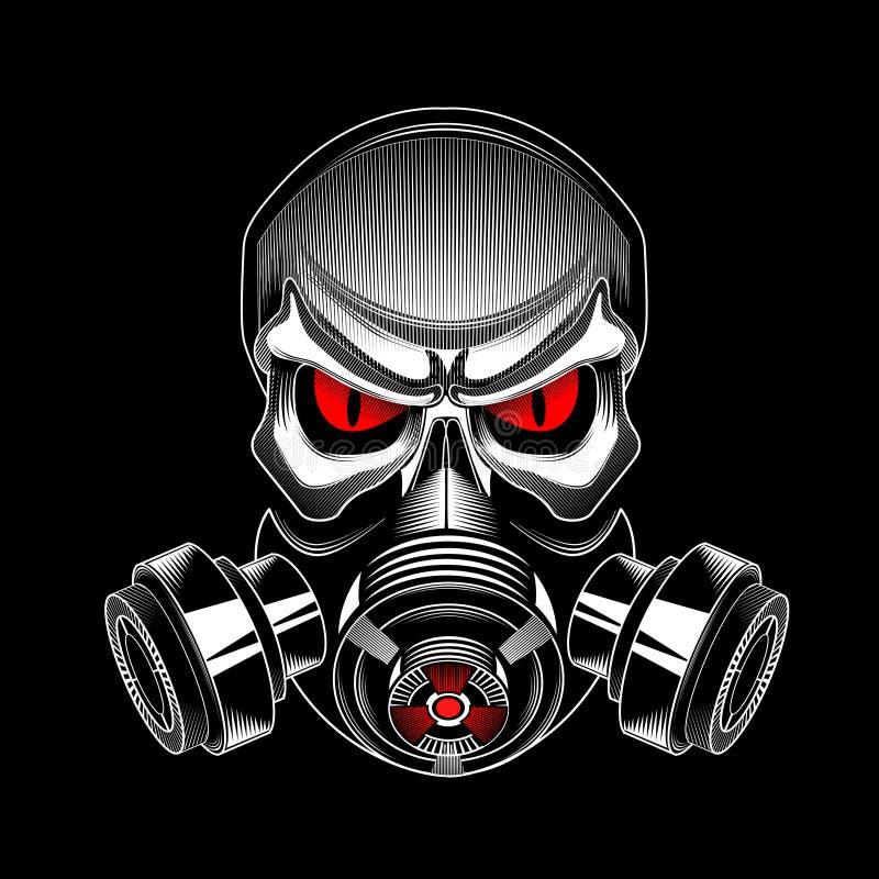 Schedel die een gasmasker dragen stock illustratie