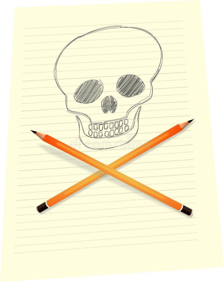 Schedel die op papier met gekruiste potloden trekken royalty-vrije illustratie