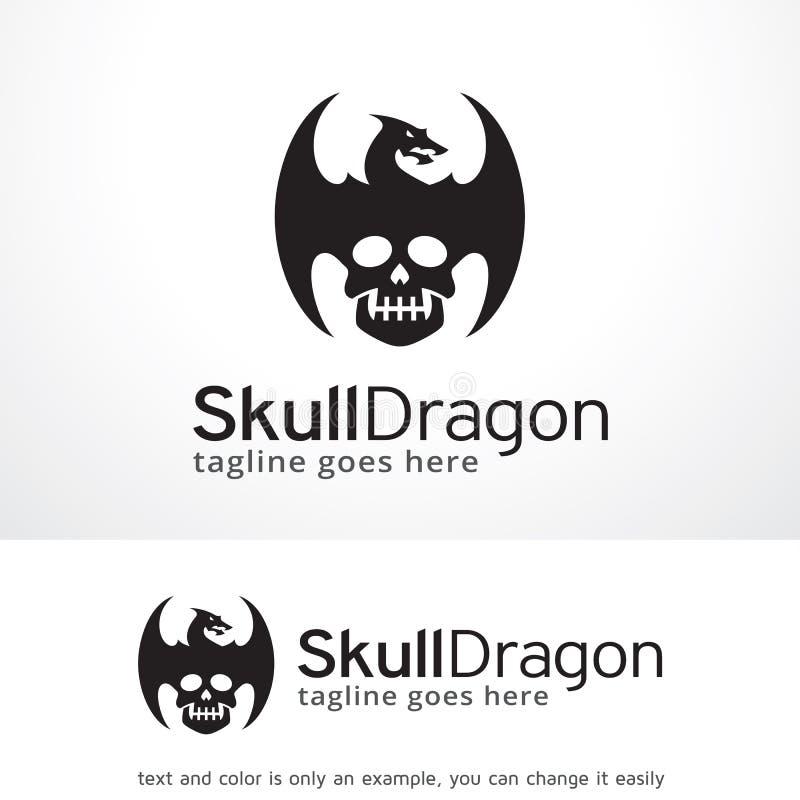 Schedel Dragon Logo Template Design Vector, Embleem, Ontwerpconcept, Creatief Symbool, Pictogram royalty-vrije illustratie