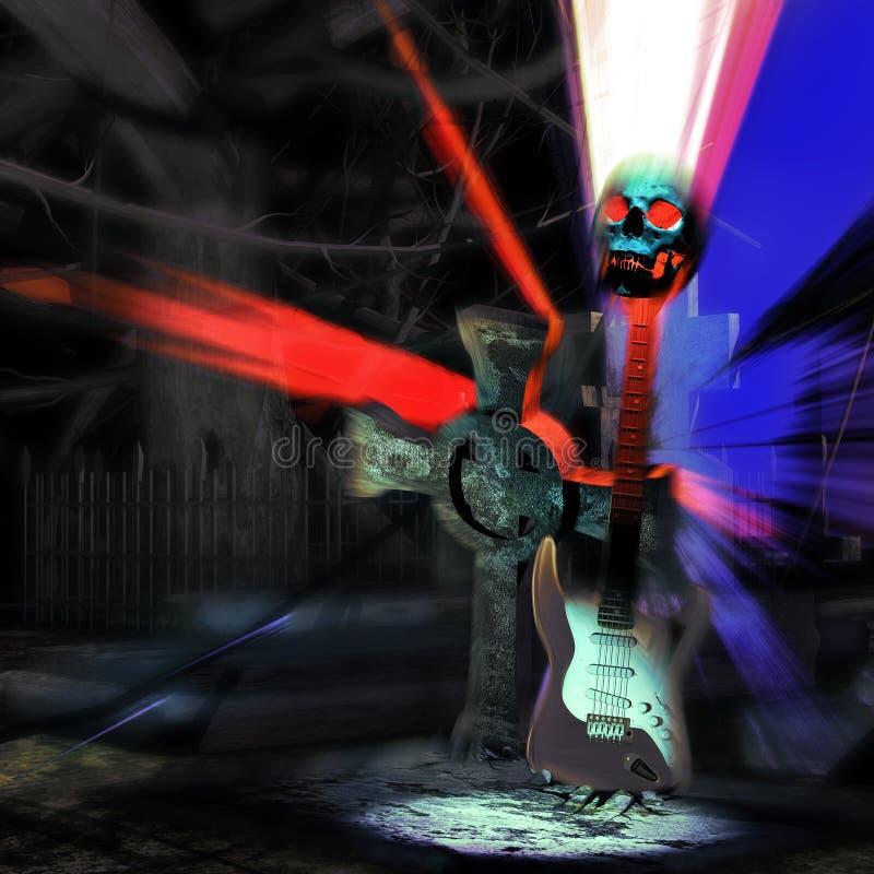 Schedel, elektrisch gitaar en kruis stock illustratie