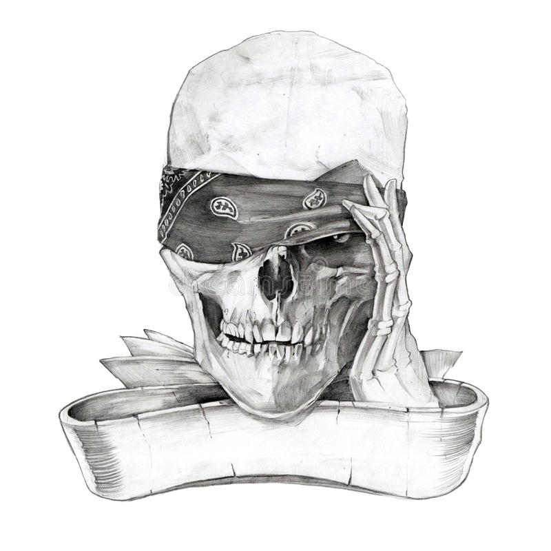 Schedel en beenderen stock illustratie