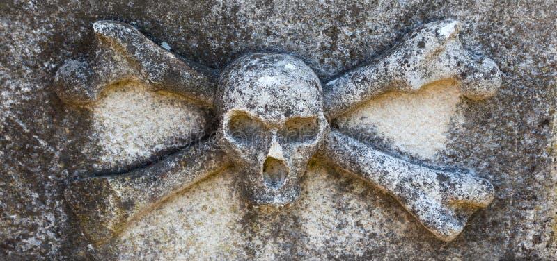 Schedel en beenderen, Begraafplaats in Buje, Kroatië stock foto