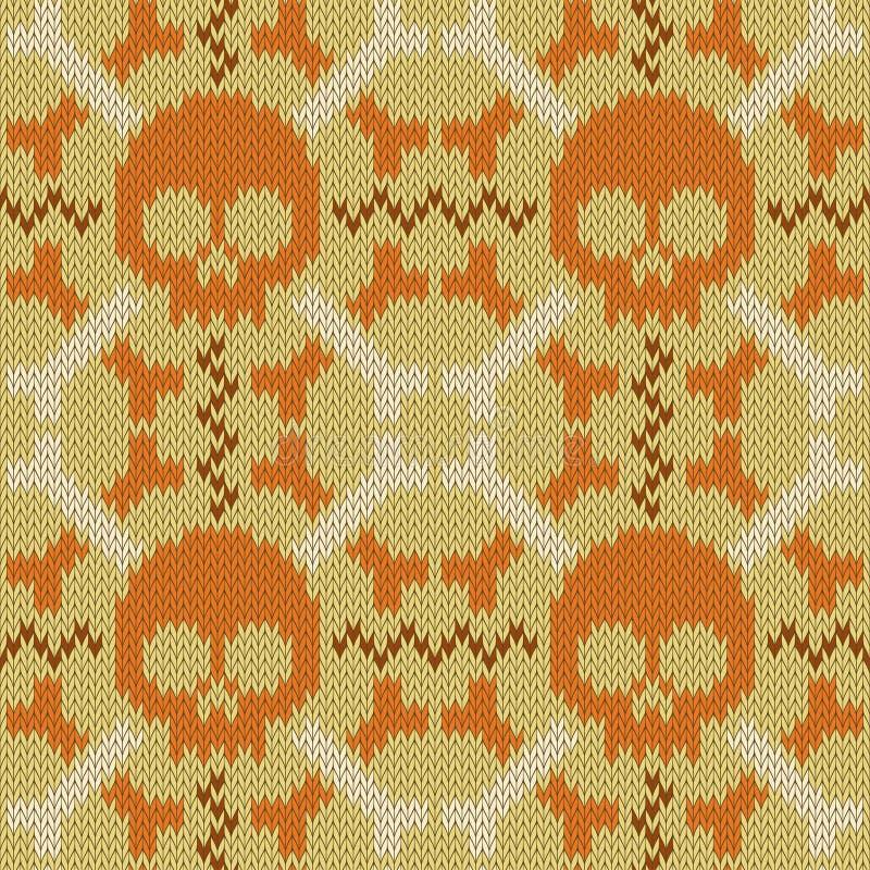 Schedel en Beenderen Gebreid naadloos wollen patroon in beige schaduwen vector illustratie