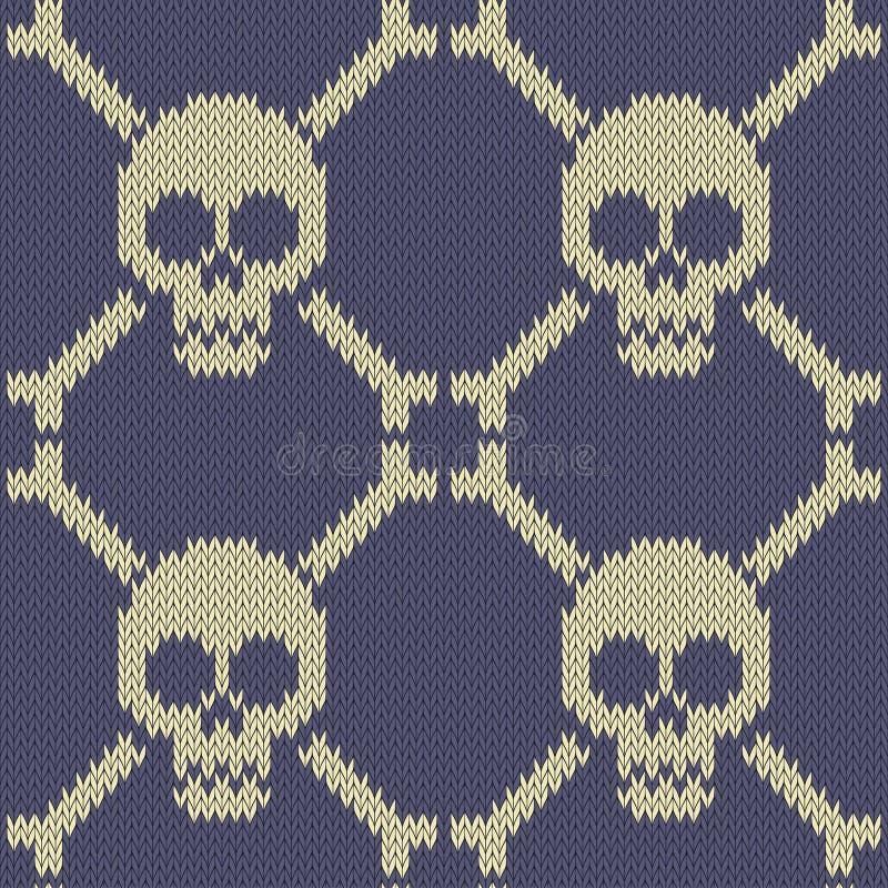 Schedel en Beenderen Gebreid naadloos wollen patroon vector illustratie