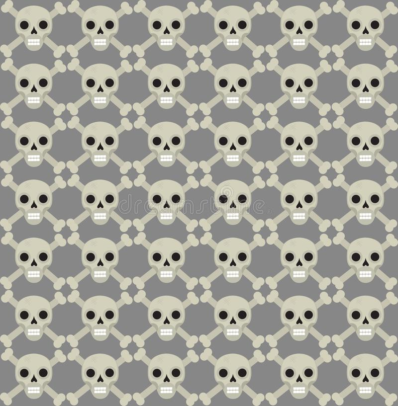 Schedel en beenderen naadloos patroon Skelet die textuur herhalen Schedels eindeloze achtergrond Het concept van Halloween Vector stock illustratie