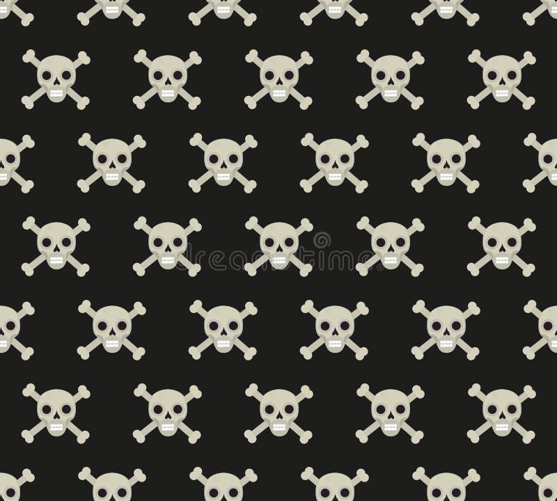 Schedel en beenderen naadloos patroon Skelet die textuur herhalen Schedels eindeloze achtergrond Het concept van Halloween Vector vector illustratie