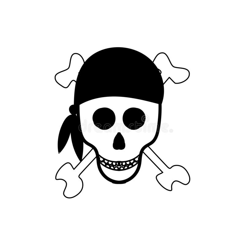 Schedel en Beenderen Piraatteken Vector illustratie stock illustratie