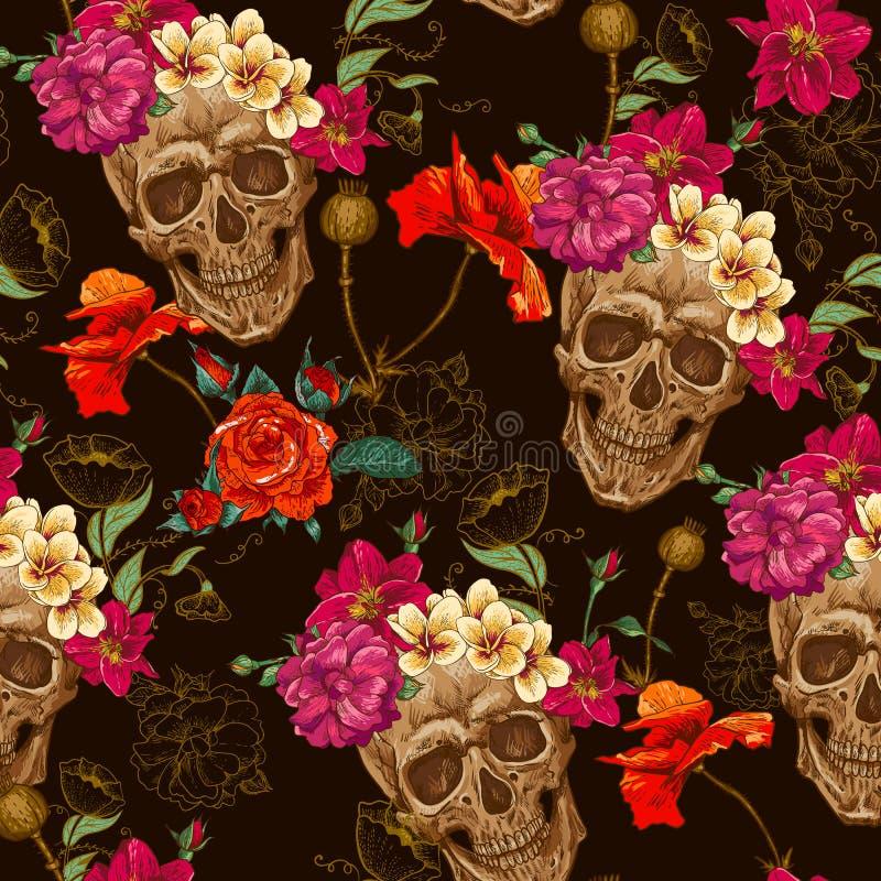 Schedel en Bloemen Naadloze Achtergrond royalty-vrije illustratie