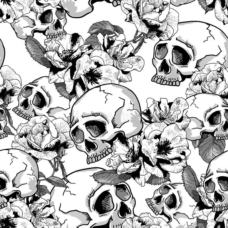 Schedel en Bloemen Naadloze Achtergrond stock illustratie