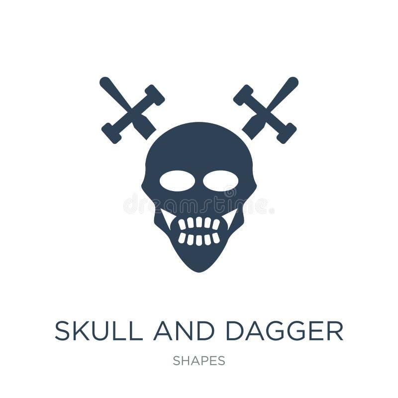 schedel en dolkpictogram in in ontwerpstijl schedel en dolkpictogram op witte achtergrond wordt geïsoleerd die schedel en dolk ve vector illustratie
