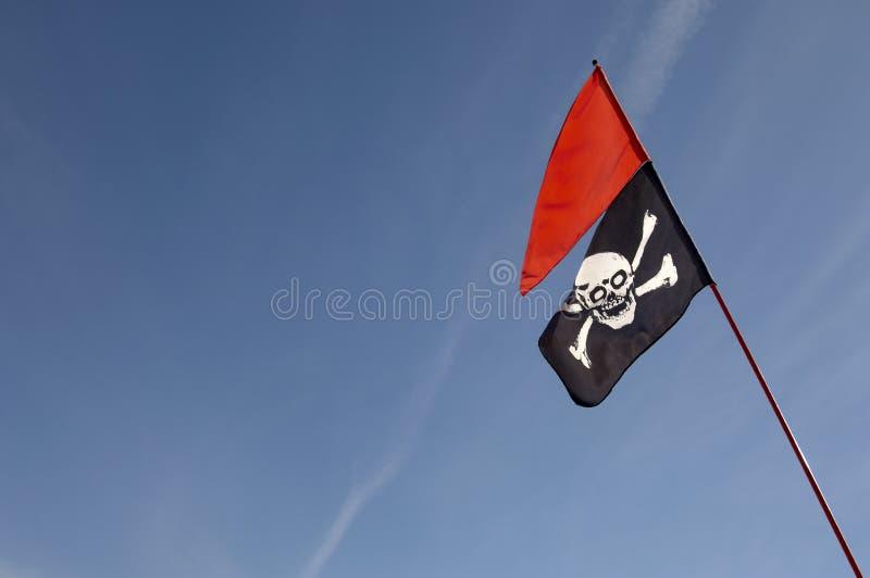 Schedel en Gekruiste knekelsvlag stock afbeelding