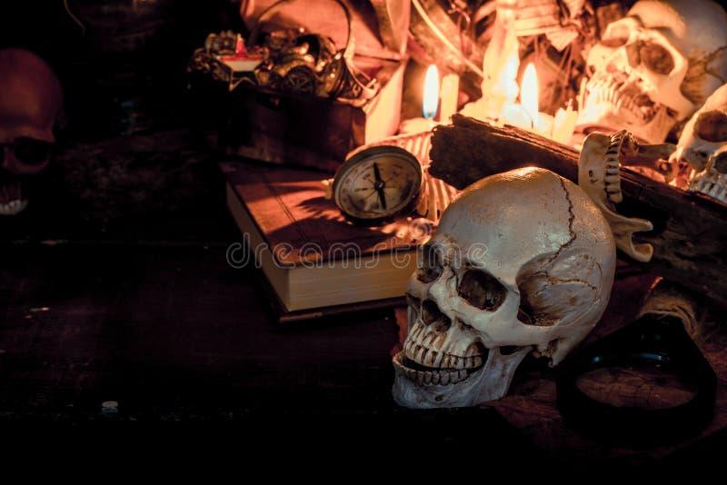 Schedel en Halloween stock afbeelding