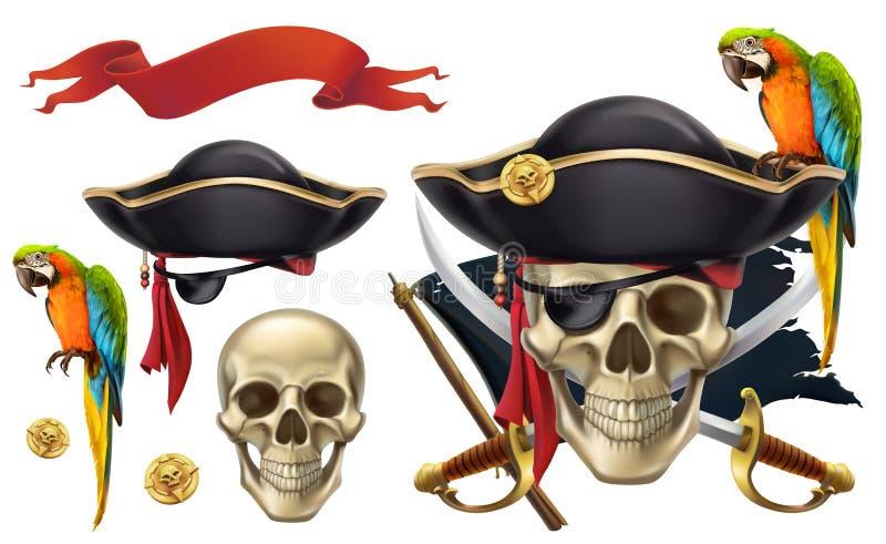 Schedel en papegaai piraatembleem Drie kleurenpictogrammen op kartonmarkeringen stock illustratie