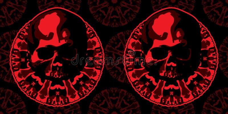 Schedel en pentagram in rode kleur Vector beeld vector illustratie