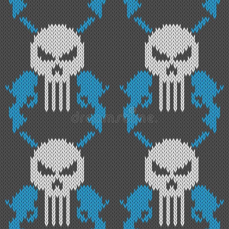 Schedel en pistolen Naadloos gebreid wollen patroon met een schedel en twee revolvers royalty-vrije illustratie