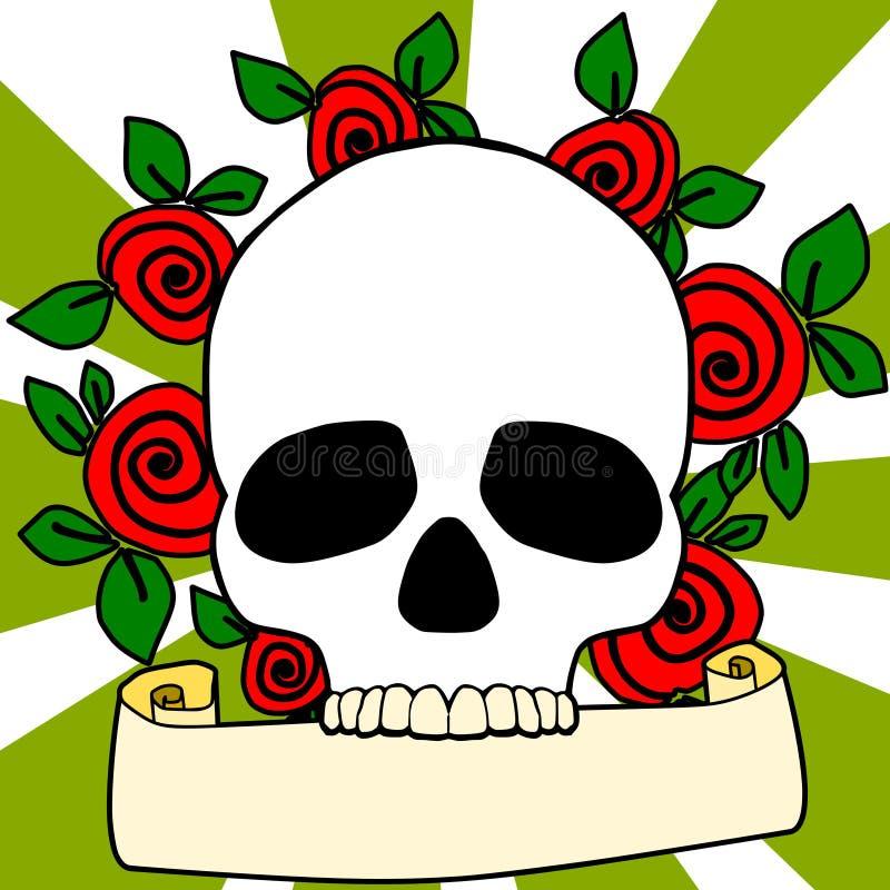 Schedel en rozen stock illustratie