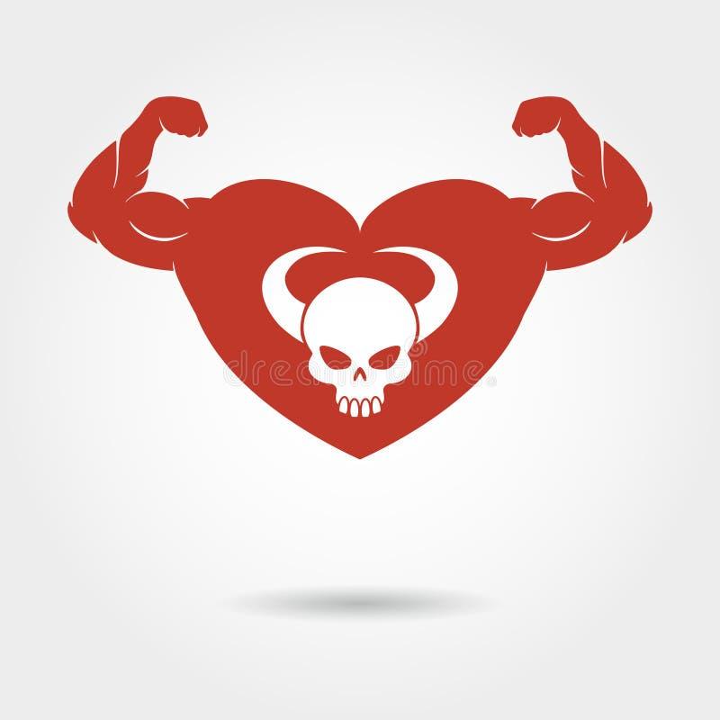 Schedel in hart met mannelijke bicepsen stock illustratie