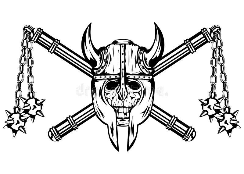 Schedel in helm en gekruist maces vector illustratie