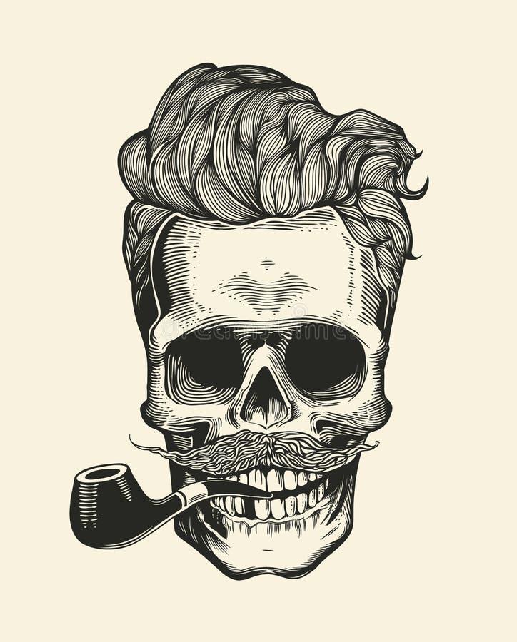 Schedel Het silhouet van de Hipsterschedel met snor, baard, en pijpen Sticker die schedelkarakter vertegenwoordigt Vector illustr stock illustratie