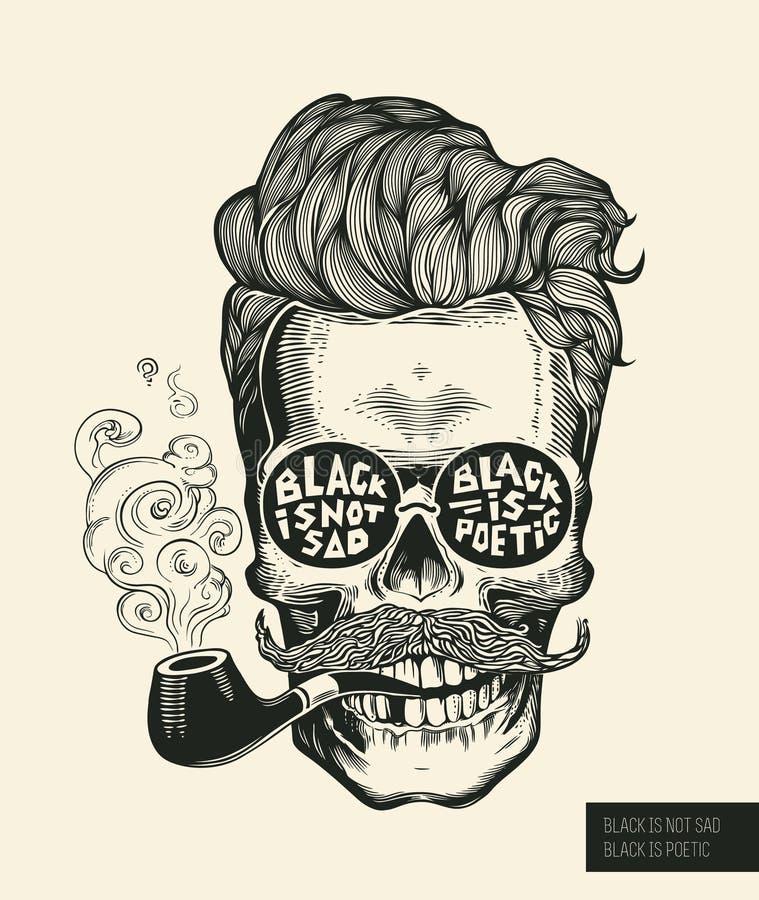 Schedel Het silhouet van de Hipsterschedel met snor, baard, pijpen en glazen De van letters voorziende Zwarte is niet droevig, is royalty-vrije illustratie