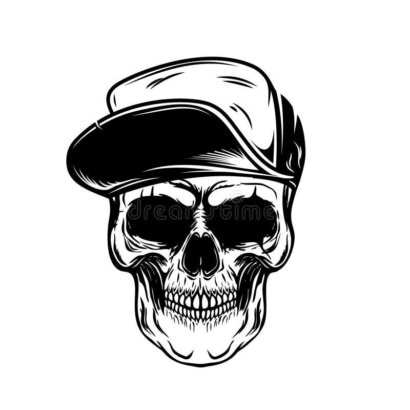 Schedel in honkbal GLB Ontwerpelement voor affiche, embleem, t-shirt royalty-vrije illustratie