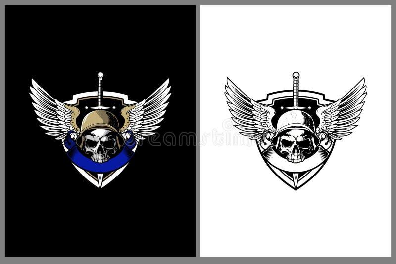 Schedel hoofdvector met militairhelm en het embleemmalplaatje van het Vleugelkenteken royalty-vrije illustratie