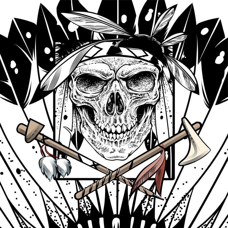 Schedel Indi?r met tekening van de wapen de vectorhand vector illustratie