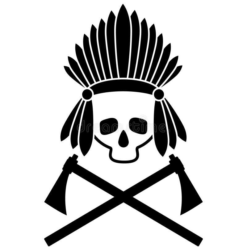 Schedel Indische leider Zwart-wit beeld pictogram Vector beeld royalty-vrije illustratie