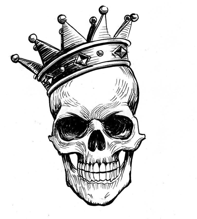 Schedel in kroon stock illustratie