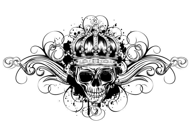 Schedel in kroon met patronen vector illustratie