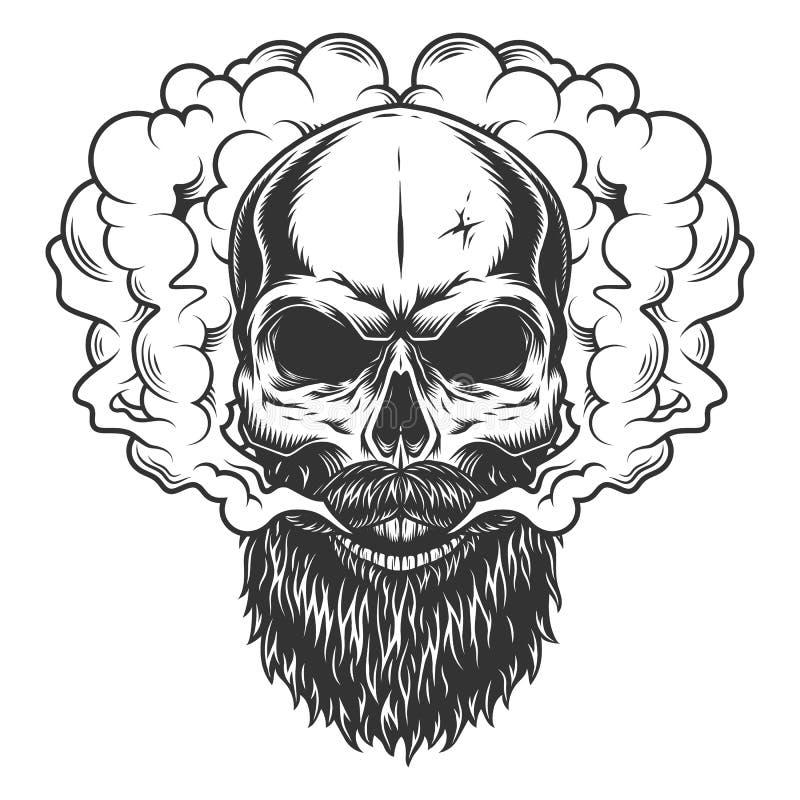 Schedel met baard en snor royalty-vrije illustratie