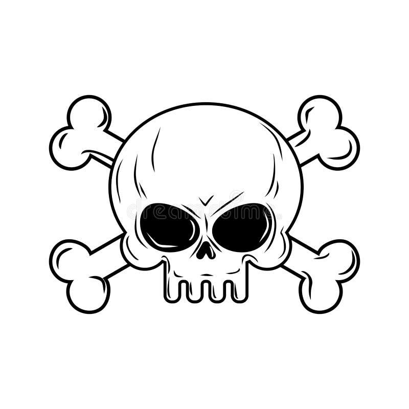 Schedel met Beenderen De piraten ondertekenen illustratie Hoofdskeleto royalty-vrije illustratie