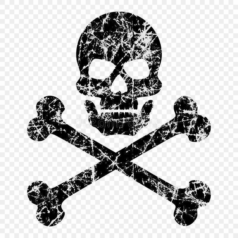 Schedel met beenderen op geïsoleerde transparante achtergrond worden gekrast die Versleten schedelpictogram Het symbool van pirat stock illustratie