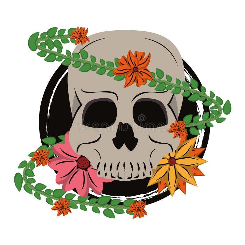 Schedel met bloem royalty-vrije illustratie