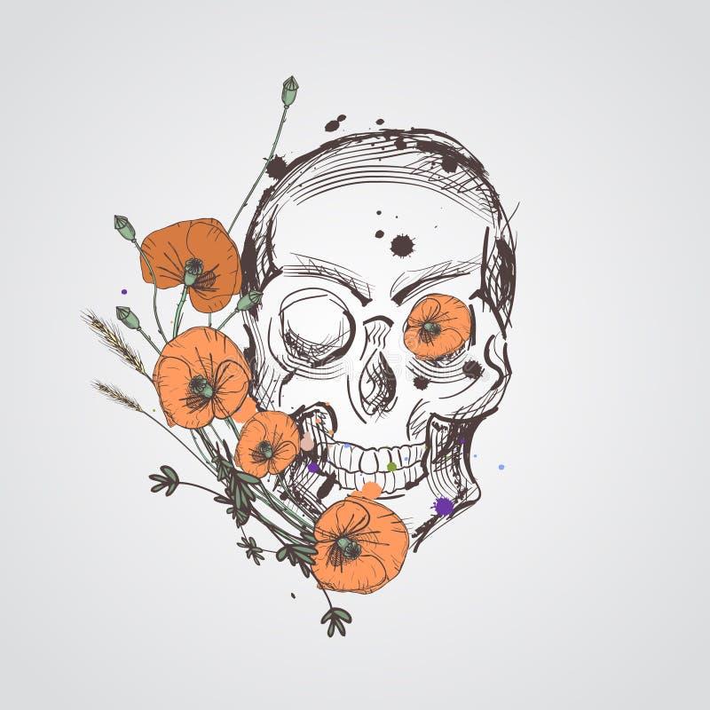 Schedel met bloemen Vectorhand getrokken schedel met wilde bloemen Schedel met bloemen op witte achtergrond worden geïsoleerd die stock illustratie