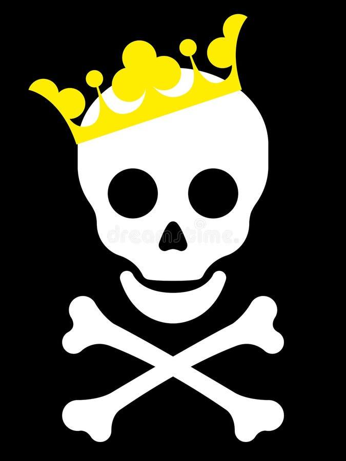 Schedel met gele kroon stock illustratie