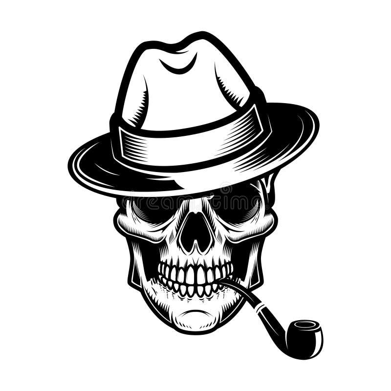 Schedel met hoed en rokende pijp Ontwerpelement voor embleem, etiket, embleem, teken royalty-vrije illustratie