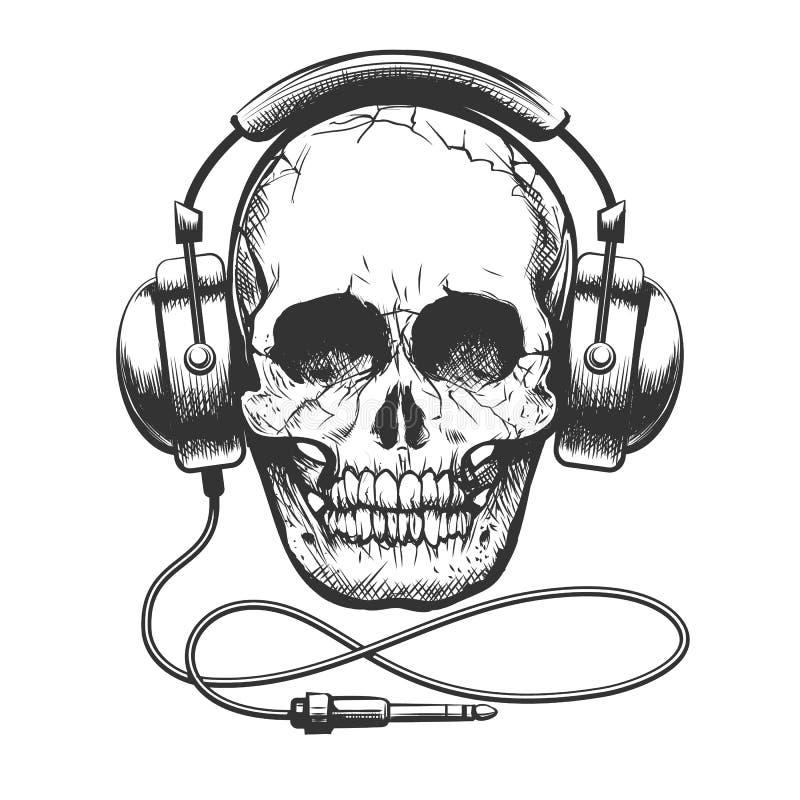Schedel met hoofdtelefoons stock illustratie