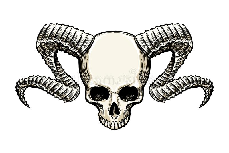 Schedel met hoornen vector illustratie