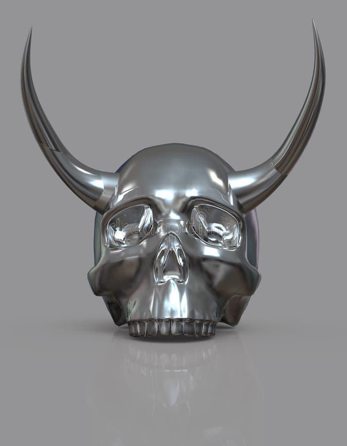 Schedel met hoornen 3D Illustratie stock illustratie