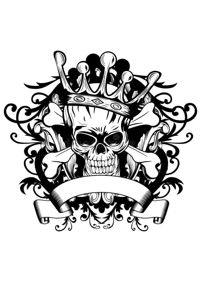 Schedel met kroon royalty-vrije illustratie